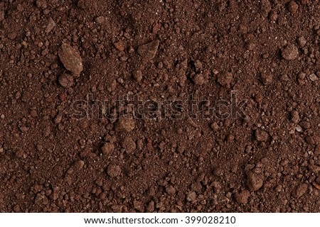 Ground Texture. Top View of a Dark Ground Surface. Close Up Macro View of Dirt and Stones. Soil Background with Text Space. Royalty-Free Stock Photo #399028210
