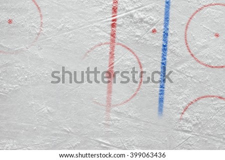 Ice the hockey field with marking. Concept, hockey, background, texture