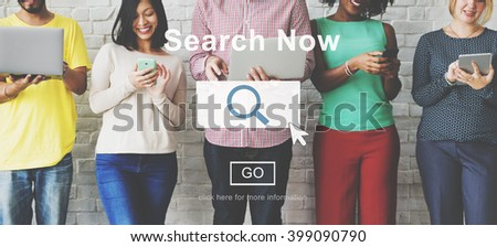 Search Now Searching Magnifying Seeking Concept #399090790