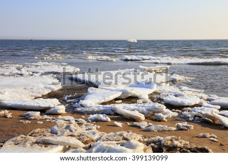 sea ice natural scenery in winter, closeup of photo #399139099