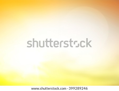 Summer holiday concept: Morning sunlight with abstract blurry bright yellow sky and clouds background
