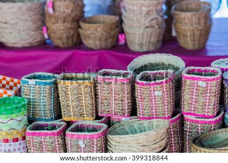 Big wicker is handmade from bamboo in outdoor represent Thai handcraft #399318844