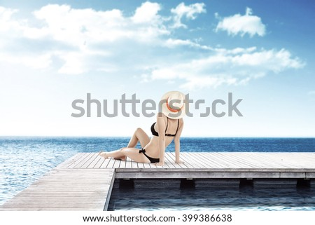 decoration of pier and woman  #399386638