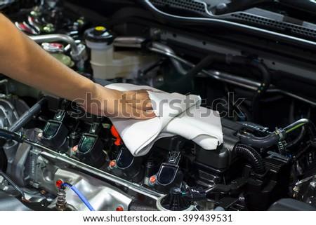 Wipe the car engine #399439531