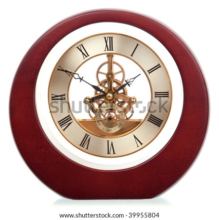 age-old mechanical clock isolated on a white background #39955804