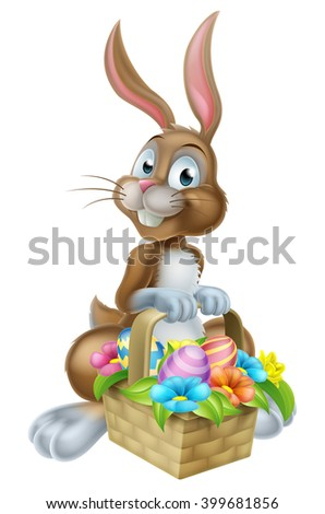 Cartoon Easter bunny rabbit holding an Easter Eggs basket full of chocolate decorated Easter eggs