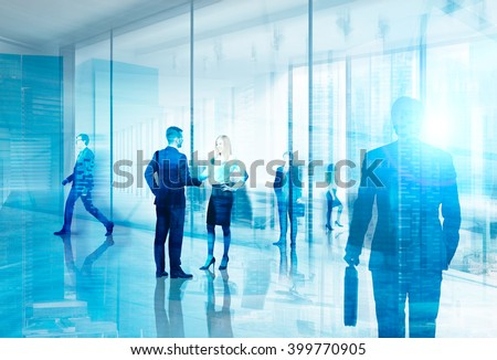 Businesspeople meeting in office. Hologram image. Concept of communication. #399770905