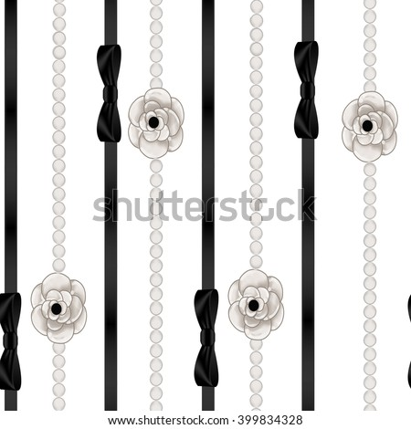 Seamless Pattern Background of pearl necklaces and black ribbon