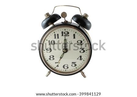 Old alarm clock isolated on white background #399841129