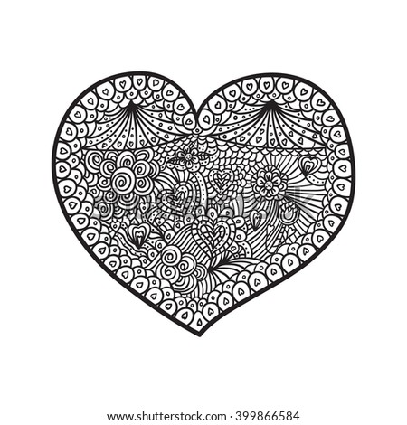 Hand drawn Doodle Heart Black and White #399866584