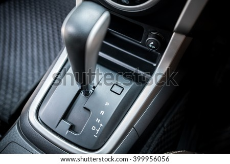 Detail of  modern car interior ; close up of automatic transmission car  #399956056