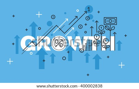 Modern thin line design concept for GROWTH website banner. Vector illustration concept for business success, financial results, banking, earnings growth and revenue, stock market. Royalty-Free Stock Photo #400002838