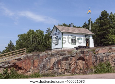 BOMARSUND, ALAND ON JUNE 26. View of a local Museum on a cliff on June 26, 2013 in Bomarsund, Aland. Highway this side the cliffs.  #400021093