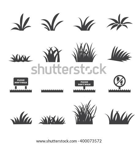 grass icon set Royalty-Free Stock Photo #400073572