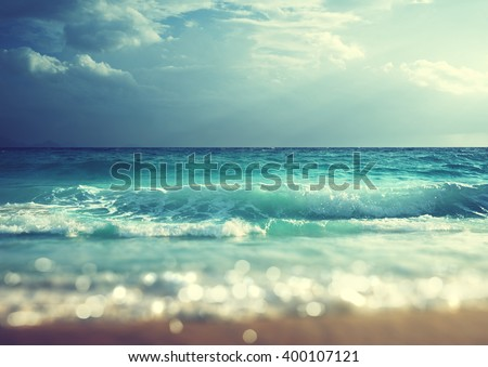 beach in sunset time, tilt shift soft effect  #400107121