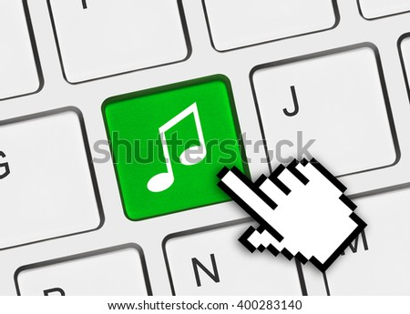 Computer keyboard with music key - technology background #400283140