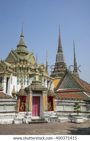On the territory of the temple complex of Wat Pho. Bangkok, Thailand #400371415