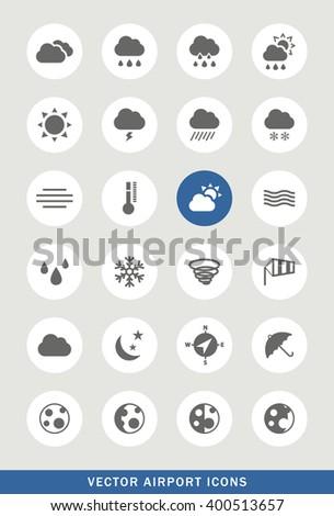 Set of 24 Universal Weather Icons. Isolated Elements. #400513657