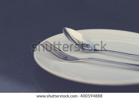Fork and spoon vintage image processed #400594888