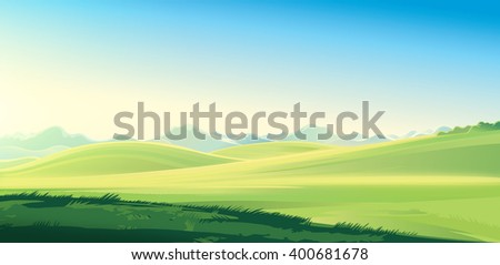 Summer mountain rural landscape. Raster illustration.  #400681678