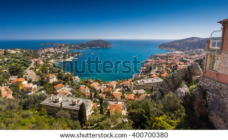 Cote d'Azur France. View of luxury resort and bay of French riviera - Villefranche-sur-Mer is situated between Nice city and Monaco. Mediterranean Sea #400700380