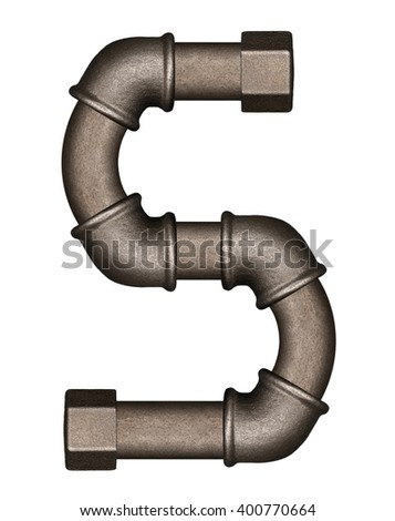 Industrial metal pipe alphabet letter S