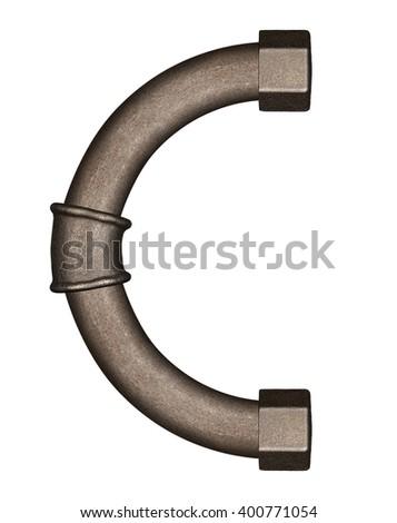 Industrial metal pipe alphabet letter C