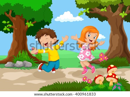 Boys and girls jumping for joy in a beautiful garden