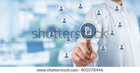 Corporate data management system (DMS) and document management system concept. Businessman publish document connected with corporate users with notebooks and access rights, office in background.