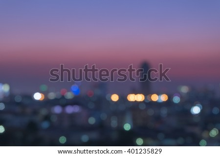 bokeh of cityscape building background and sunset #401235829