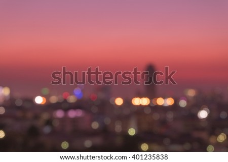 bokeh of cityscape building background and sunset #401235838
