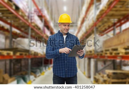 wholesale, logistic, business, export and people concept - happy man or manager with tablet pc computer checking goods over warehouse background #401258047
