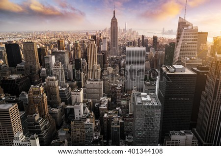 New York City skyline with urban skyscrapers at sunset, USA. #401344108