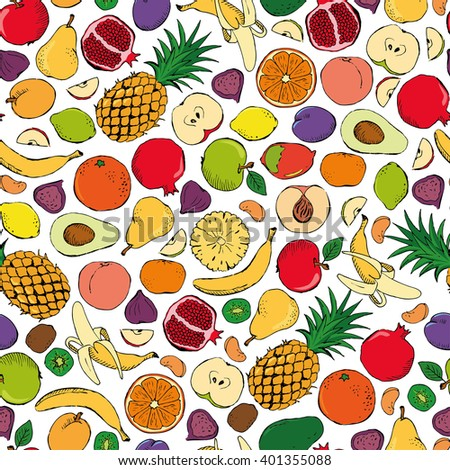 Colored fruits doodle seamless on white background. Seamless patterns with colored doodle fruits. Vector illustration #401355088