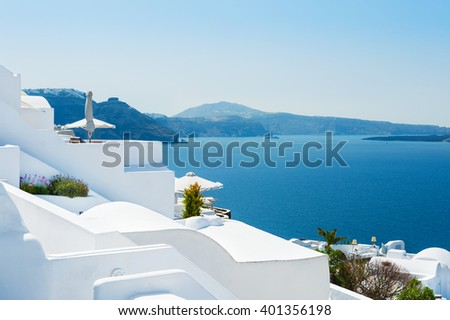 White architecture on Santorini island, Greece. Beautiful landscape with sea view #401356198