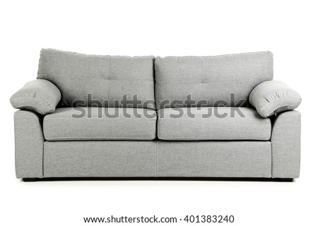 Grey sofa isolated on a white background Royalty-Free Stock Photo #401383240