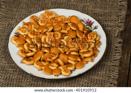 Crackers on a wooden table. Rustic style . Top view. Free space for text. #401410912