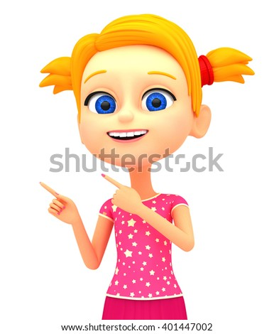 Happy little girl on a white background. 3D rendering for advertising.