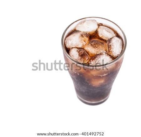 Glass of cola with ice isolated on white background #401492752