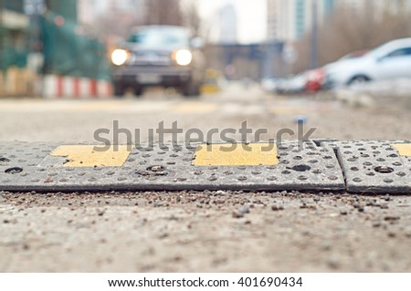Speed bump closeup                              #401690434