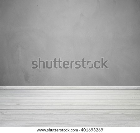 empty room interior with concrete wall and wood floor #401693269