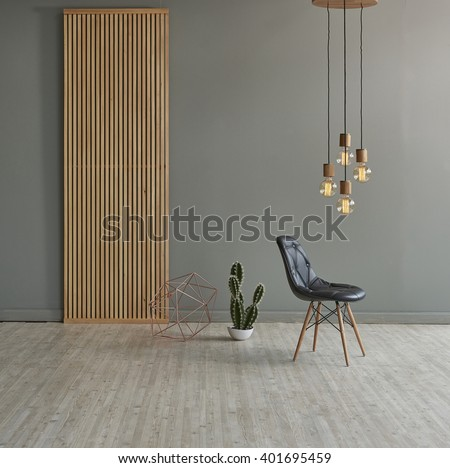 gray wall in front of modern wooden separator modern pendant lamp textured wood laminate flooring and cactus with leather chair concept #401695459
