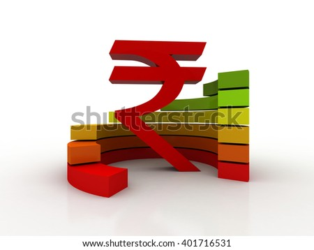 3D rupee currency symbol with graph #401716531