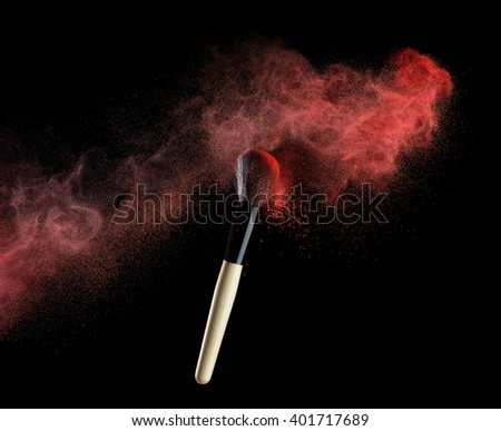 makeup brush with red powder isolated on white. #401717689