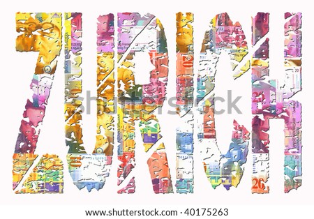 Abstract Zurich grunge text with Swiss flag illustration #40175263