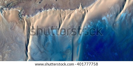Caribbean beaches, abstract photography of the deserts of Africa from the air. aerial view of desert landscapes, Genre: Abstract Naturalism, from the abstract to the figurative, contemporary photo art #401777758