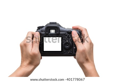 Hands holding the camera on white background,include clipping path #401778067