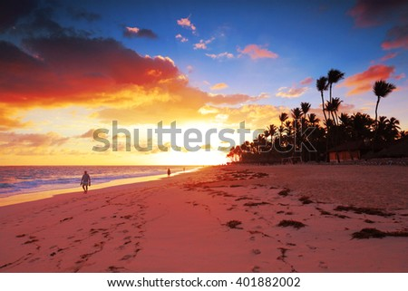 Photo of the tropical island. Dominican Republic beach. Sunset in Paradise. Pure turquoise water. Perfect for wallpapers, screensaver, card, calendar, advertisement, booklet, flier, sticker, printing #401882002
