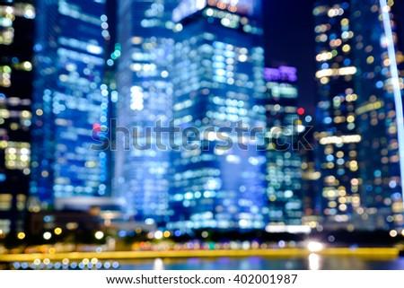 City night lights bokeh of singapore blurred background #402001987