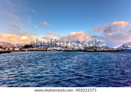 Stamsund in the Lofoten Islands, Norway in the winter. #402022375